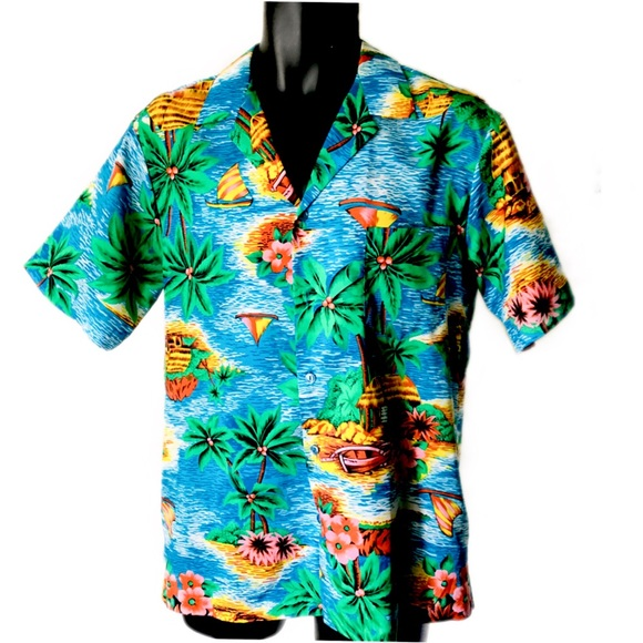 fb4b46c998900 Hilo Hattie Shirts   Blue Hawaiian Camp Shirt Sailing Flora   Poshmark